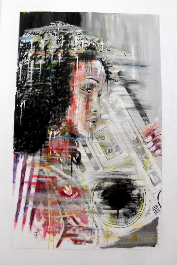 Rachida : 150 cm X 100 cm acrylique sur panneau