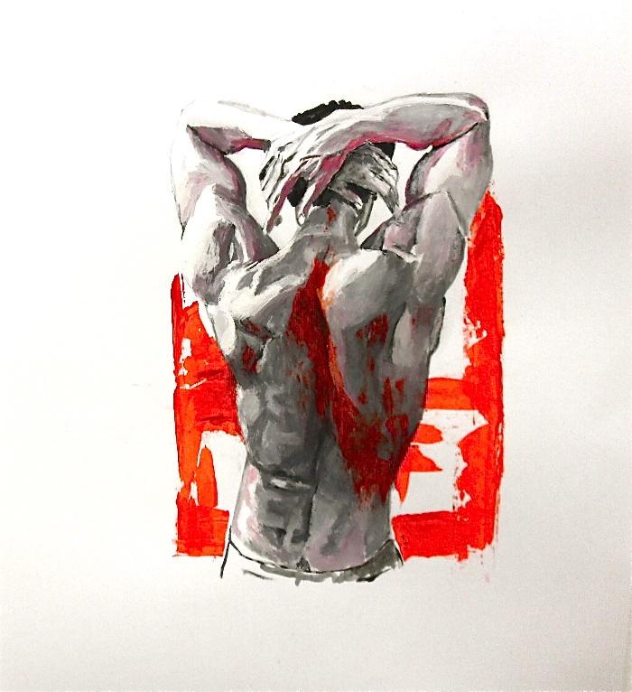 Torso par Stanmac / 65 cm x 50 cm acrylique et huile sur papier