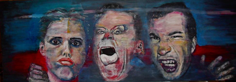 Portrait de groupe par Stanmac (2015). Lucie, Barney & Jack II. Huile sur toile / Oil on canvas 50 cm x 150 cm