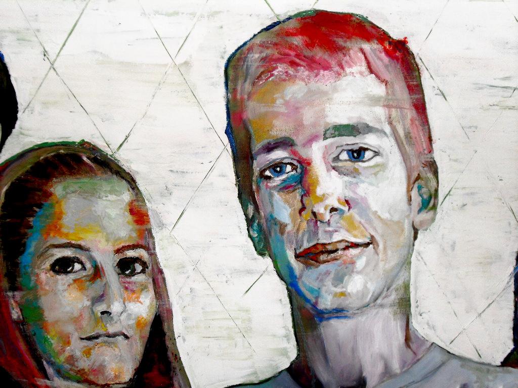Détail du portrait de groupe par Stanmac (2015) de Cristal Children. Huile sur toile / Oil on canvas 50 cm x 150 cm