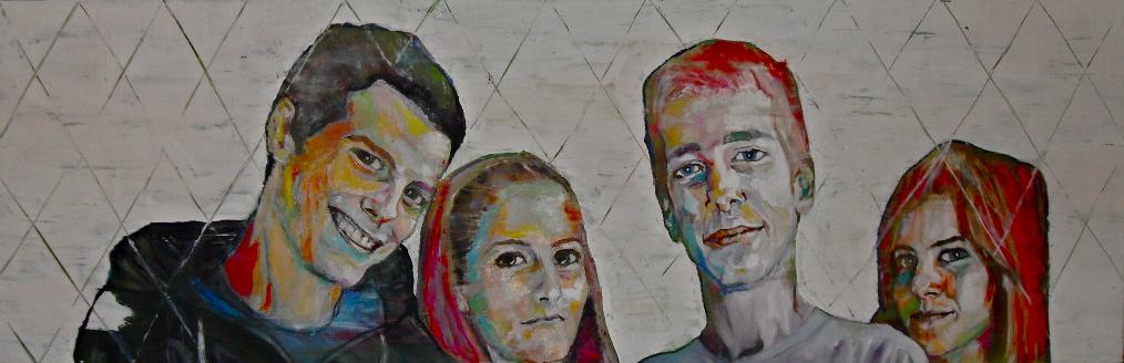 Cristal Children. Huile sur toile/ Oil on canvas 50 cm x 150 cm. Portrait des enfants de Cristal.
