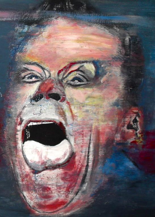 Visage de Barney. Lucie, Barney & Jack II. Huile sur toile / oil on canvas 50 cm x 150 cm
