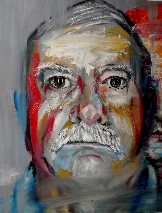 Détail de Volodia, Pavel & Nicolaï (detail). Huile sur toile / Oil on canvas. 50 cm x 150 cm. Visage de Pavel