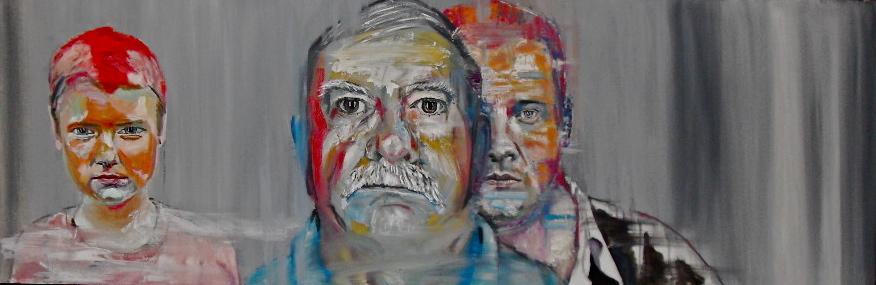 Portrait de Volodia, Pavel & Nicolaï, par Stanmac. Huile sur toile / Oil on canvas 50 cm x 150 cm