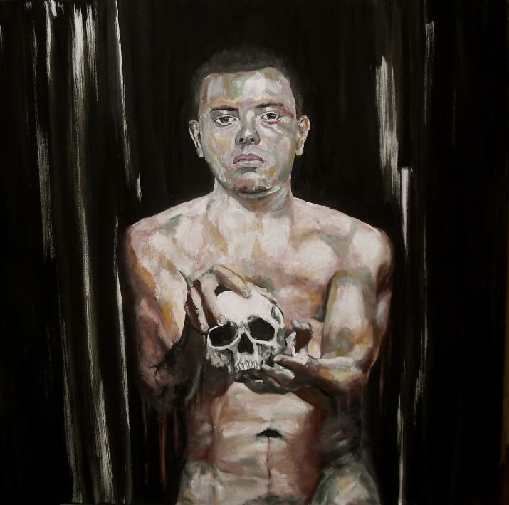 The Gift I. Huile sur toile / Oil on canvas. 100 cm x 100 cm, par Stanmac (2015) Homme à la vanité.