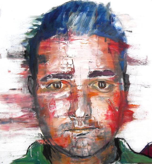 Détail du tableau Suspects. Huile sur toile / Oil on canvas. 50cm x 150 cm par Stanmac