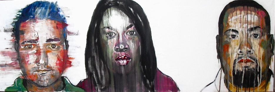 Trois portraits de suspects. Huile sur toile par Stanmac. 50 cm x 150 cm