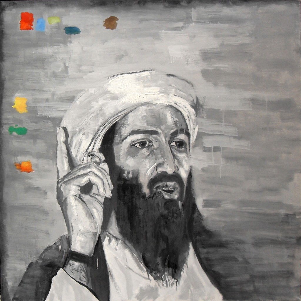 Portrait d'Oussama Ben Laden, par Stanmac. Huile sur toile / Oil on canvas. 100 cm x 100 cm. 2015