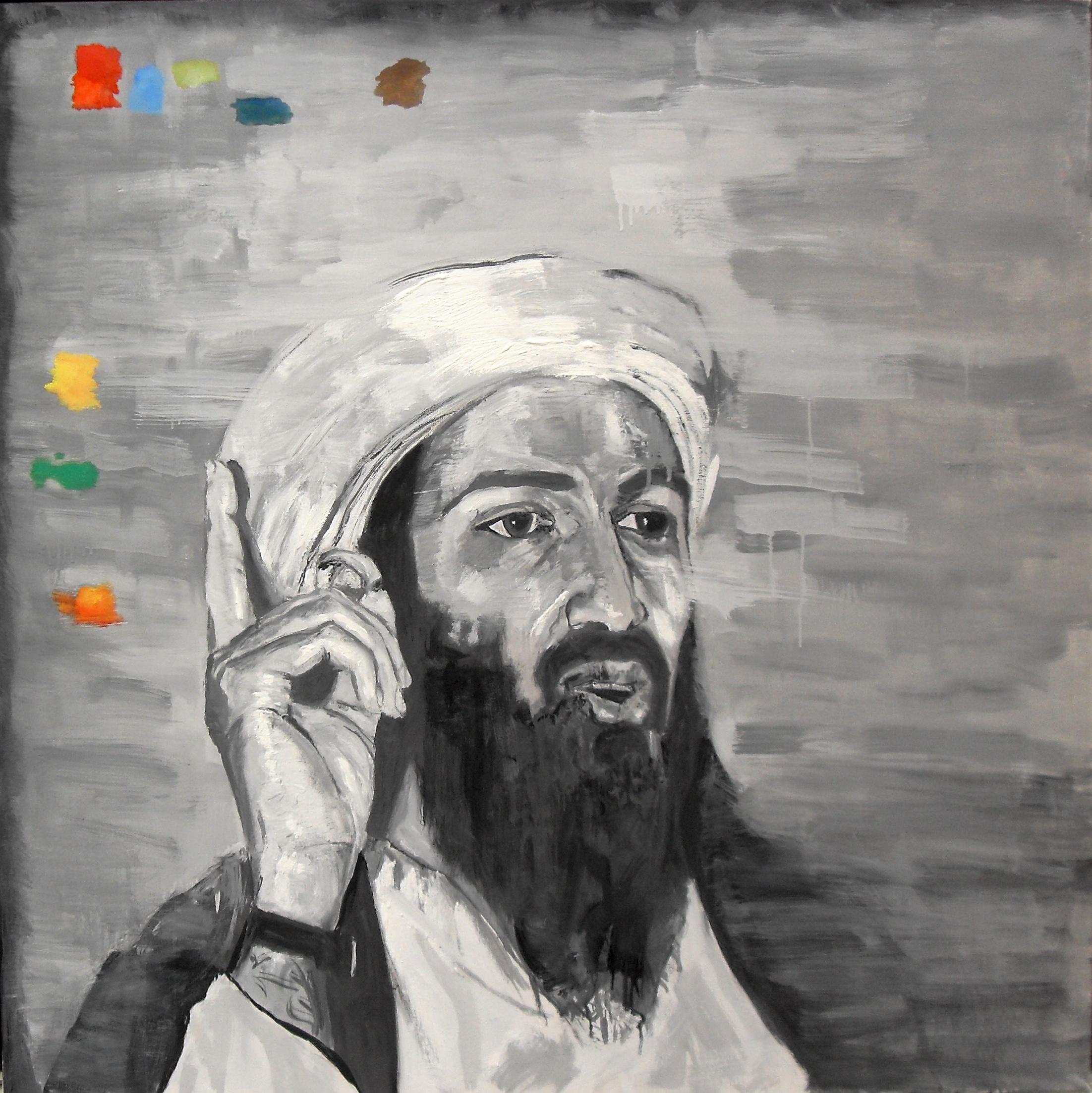 Portrait d'Oussama Ben Laden, par Stanmac. Huile sur toile / Oil on canvas. 100 cm x 100 cm. 2015