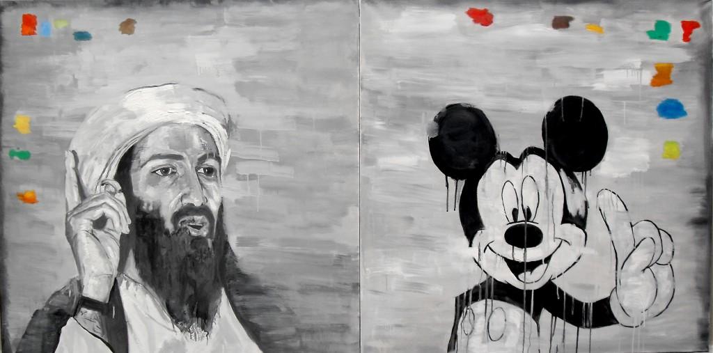 Portraits en dyptique d'O. Ben Laden et Mickey Mouse, par Stanmac. Huile sur toile / Oil on canvas. 100 cm x 100 cm chacun.