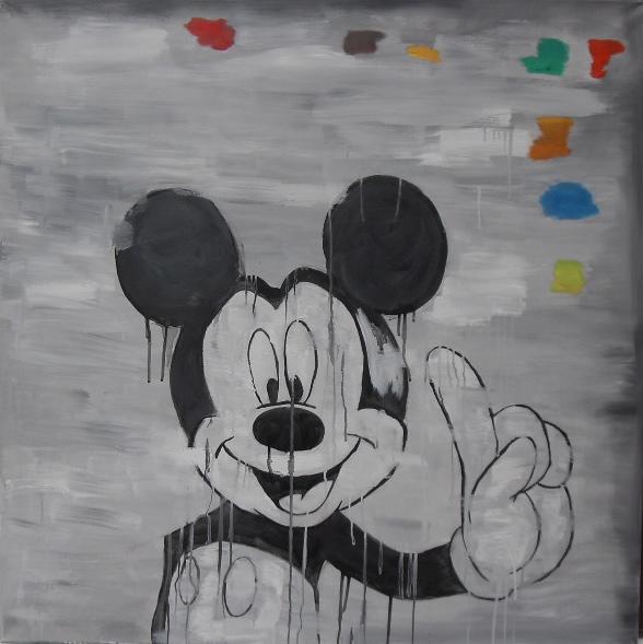 Portrait de Mickey par Stanmac. Huile sur toile / Oil on canvas. 100 cm x 100 cm. 2015