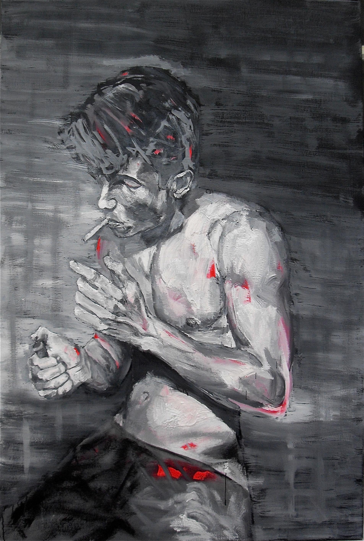 Portrait d'un fumeur (a smoker's portrait), par Stanmac. 2015. Huile sur toile / Oil on canvas. 120 cm x 80 cm