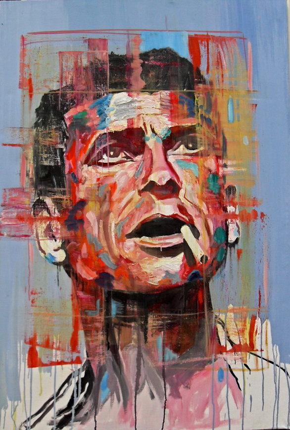 Portrait couleur d'un fumeur (colored portrait of a smoker), par Stanmac. 2015. Huile sur toile/ Oil on canvas. 118 cm x 80 cm