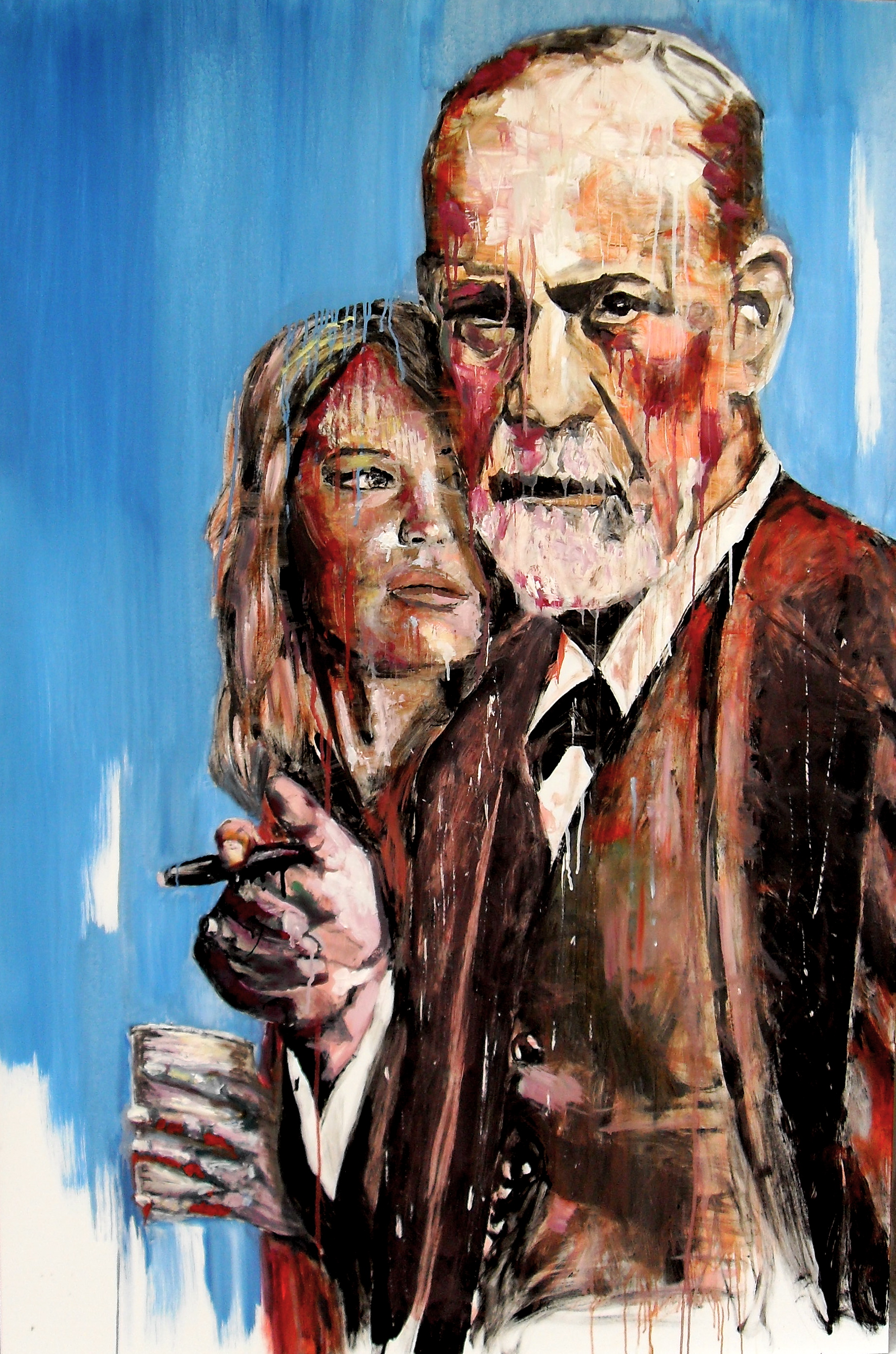 Freud & friend (Sigmund & Jennifer), par Stanmac. Huile sur panneau / Oil on board. 150 x 100 cm. 2015