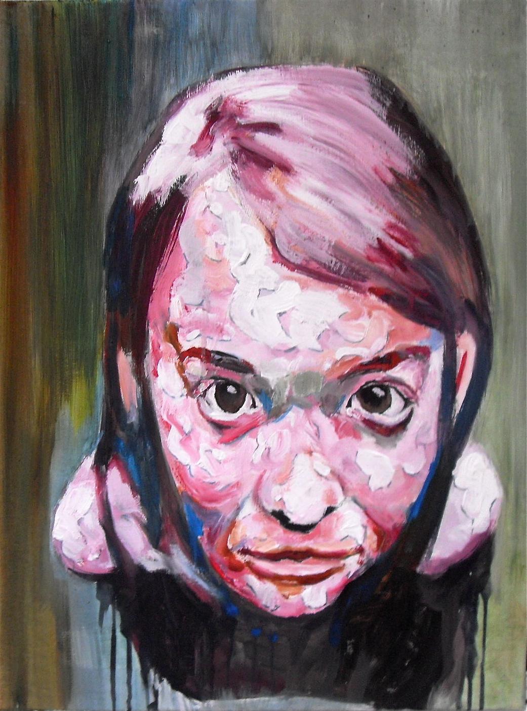 Portrait sans titre d'une jeune fille / Untitled portrait of a girl. Huile sur toile / Oil on canvas. 80 cm x 60 cm