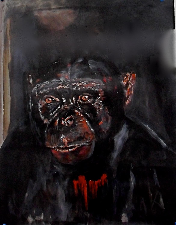 Portrait de gorille Are we not men ? Acrylique sur papier / acrylic on paper 65 x 50 cm, par Stanmac 2016