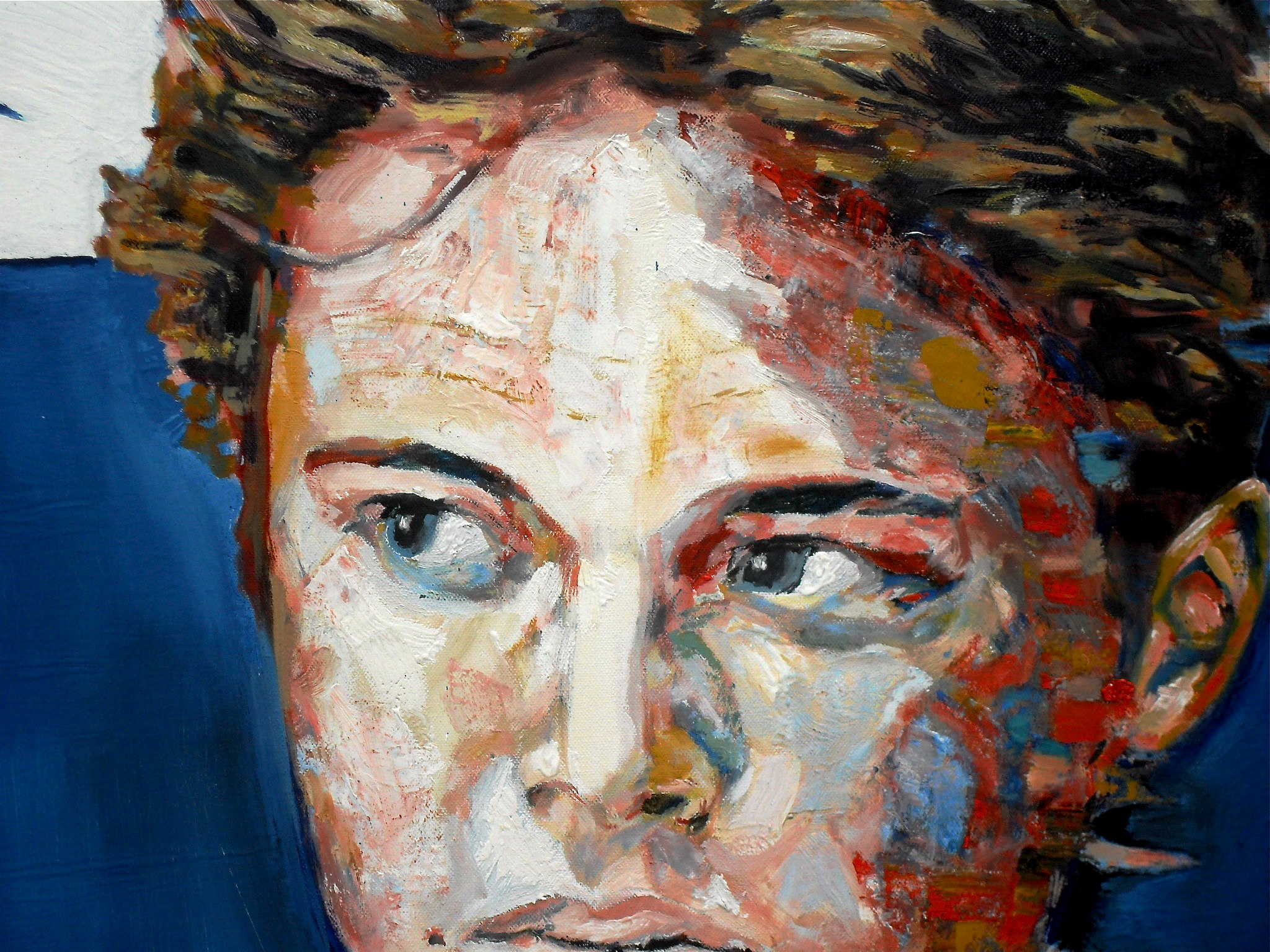 Détail du portrait de Dorian sur fond bleu. 2016. Par Stanmac
