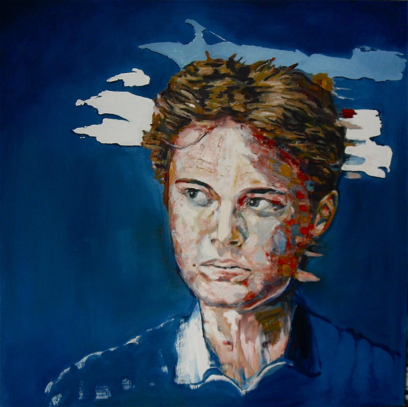 Portrait de Dorian, par Stanmac 2016. Visage sur fond bleu. Huile sur toile / Oil on canvas 100 cm x 100 cm (Collection particulière)