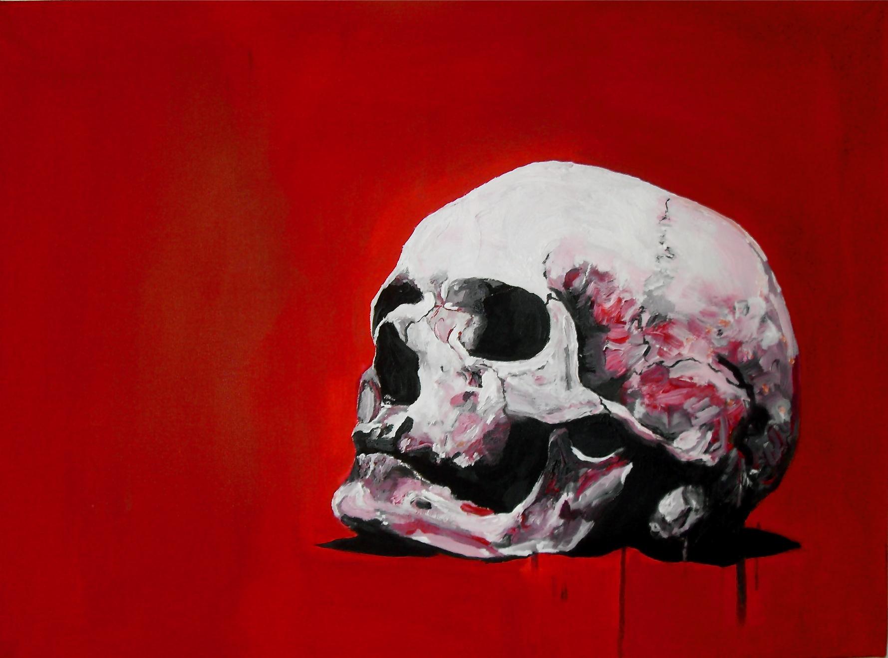Grand-père. Crâne rouge. Acrylique sur toile/acrylic on canvas. 60 x 80 cm, par Stanmac 2016