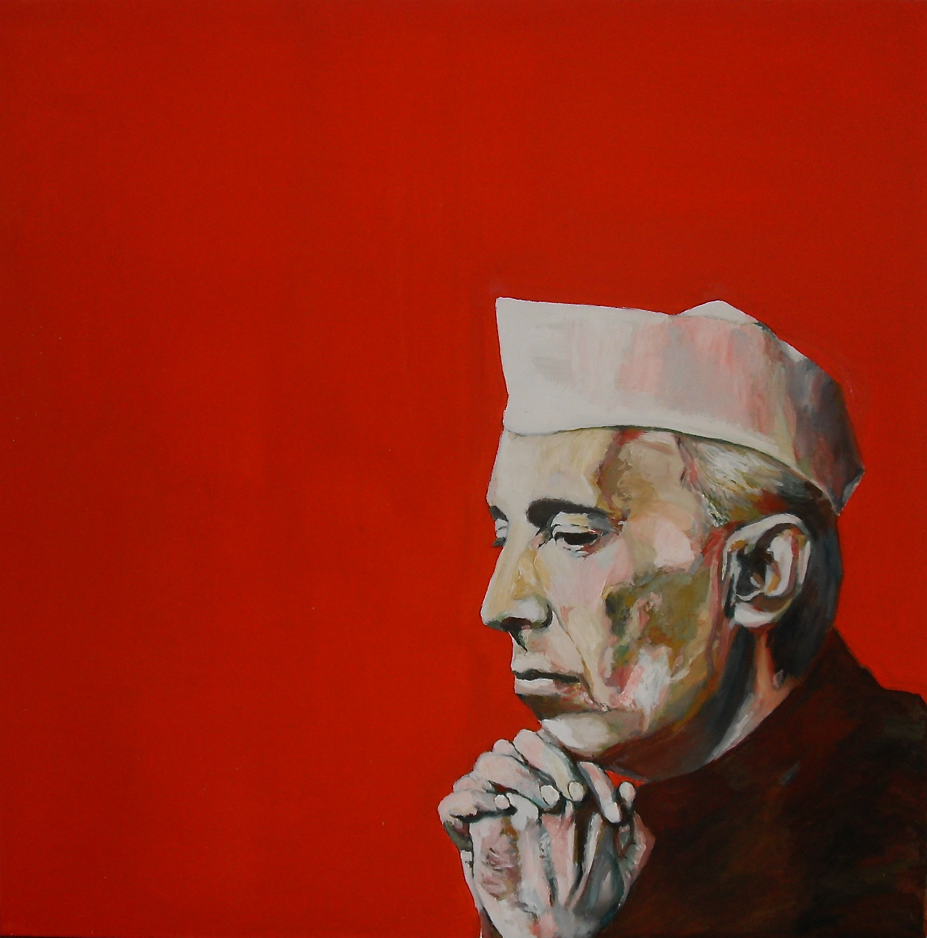 Portrait de Nehru. Huile sur toile/ Oil on canvas. 100 cm x 100 cm par Stanmac. 2015