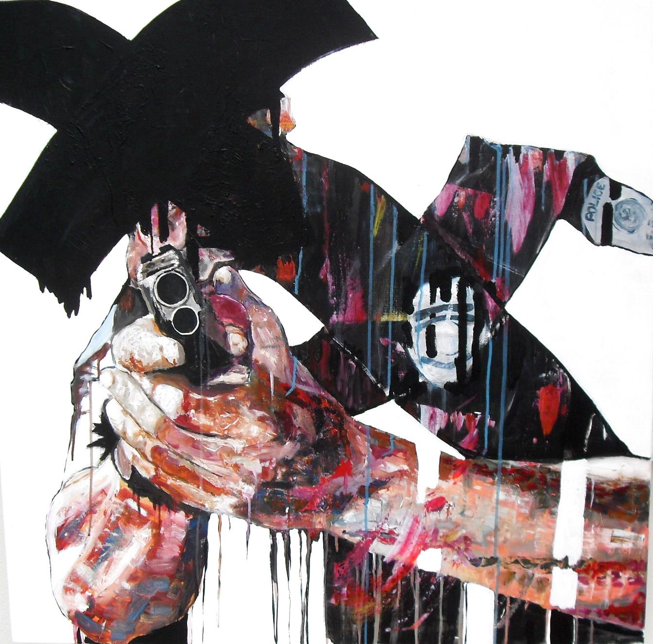 Hands up ! Acrylique sur toile/ acrylic on canvas 100 x 100 cm, par Stanmac 2016. Deux mains tenant le spectateur sous la menace d'un positolet.