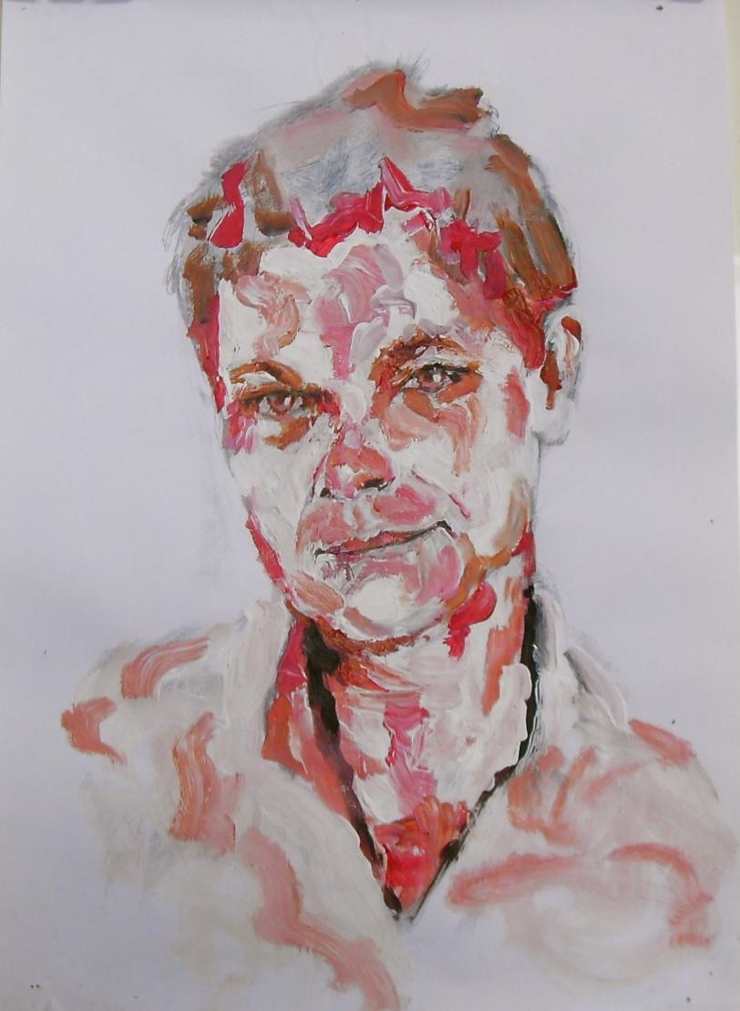 Selfie 1. Acrylique sur papier/acrylique on paper. 42x29,5 cm, par Stanmac 2016. Autoportrait rouge et blanc.