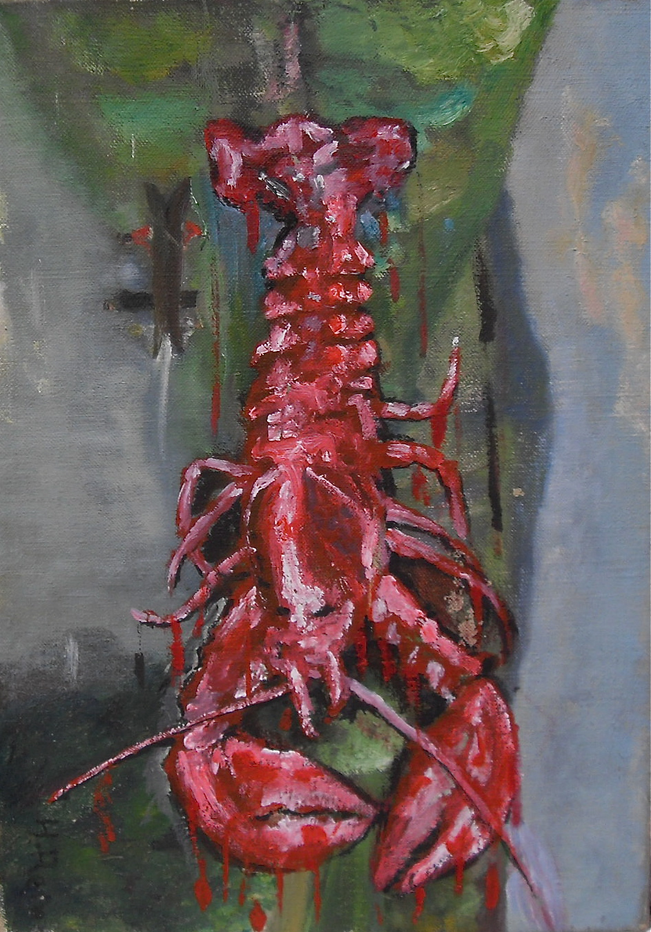 Homard rouge vertical sur paysage horizontal. Fruit de mer sur la terre. Acrylique sur toile/ acrylic on canvas. 46 x 33 cm par Stanmac 2016