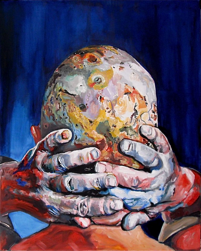 Planhead. La tête chauve comme une planète. Huile sur toile / Oil on canvas. 100 x 80 cm, par Stanmac 2016