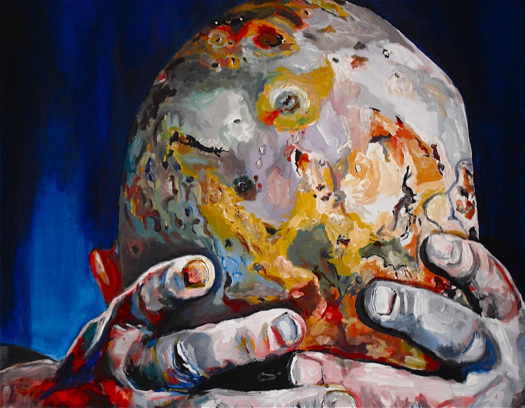 Planhead. Détail de La tête chauve comme une planète. Huile sur toile / Oil on canvas. 100 x 80 cm, par Stanmac 2016