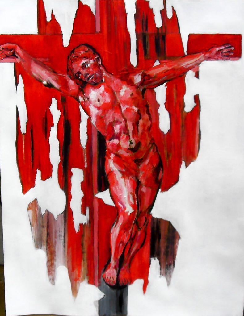 Christ en croix rouge/ Red Christ on cross/ ou danseur christique/ or christic dancer/ par Stanmac 65x50 cm