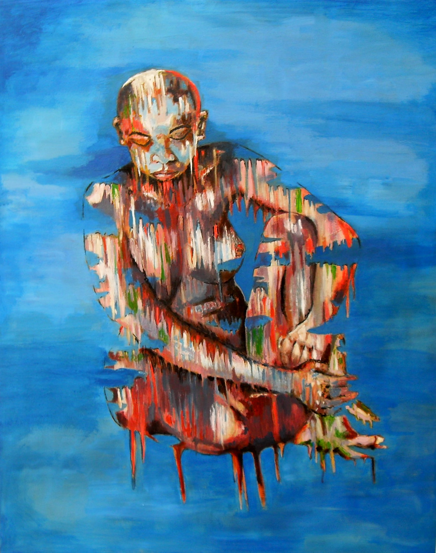 Portrait d'Africaine assise sur fond bleu. Acrylique sur toile, par Stanmac 2017.
