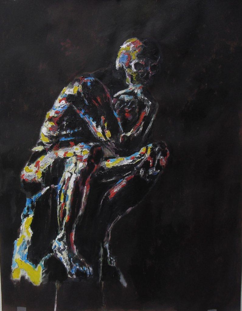 Penseur à tête de mort. Acrylique sur papier. 65 x 50 cm par Stanmac, 2017