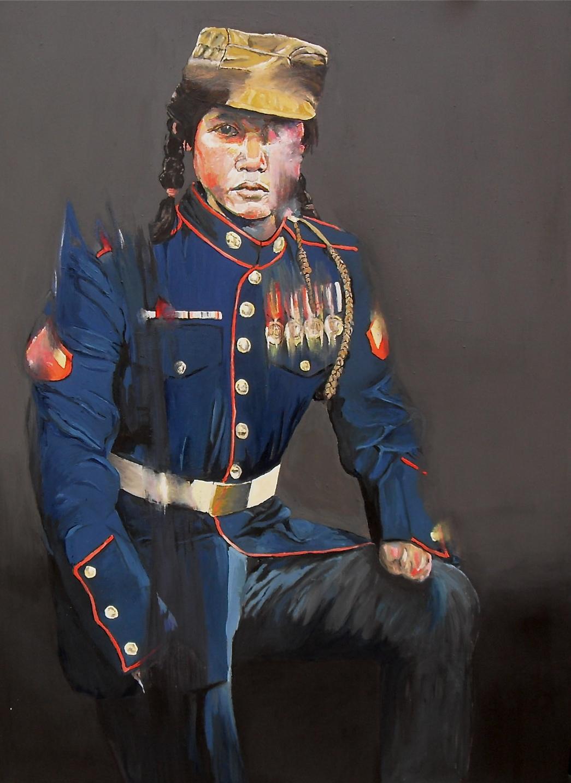 Portrait peinture (portrait painting) d'une jeune militaire/guerillera au moignon, huile sur papier par Stanmac 2017