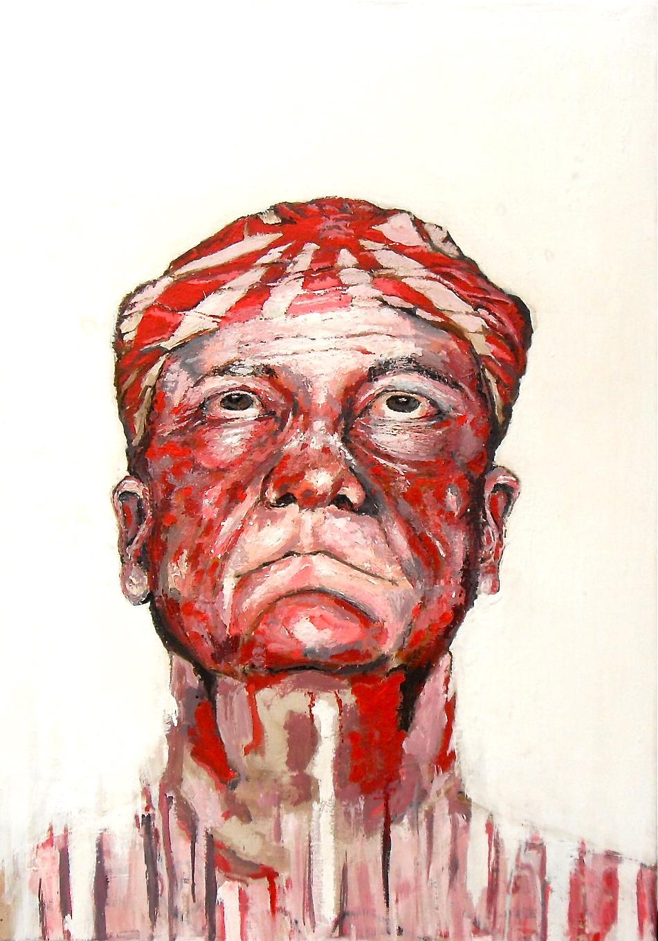 Peinture acrylique. Portrait d'un vieil homme en kamikaze, avec foulard du soleil levant sur la tête, par Stanmac, 2017.