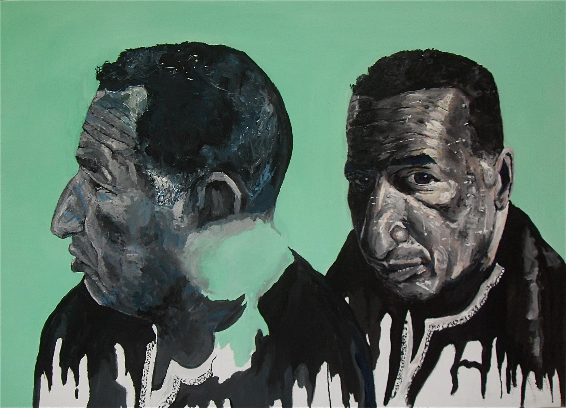 Deux portraits à l'huile sur toile de Mustapha Chaouche. Trois quart face et profil sur fond vert. 76 x 152 cm