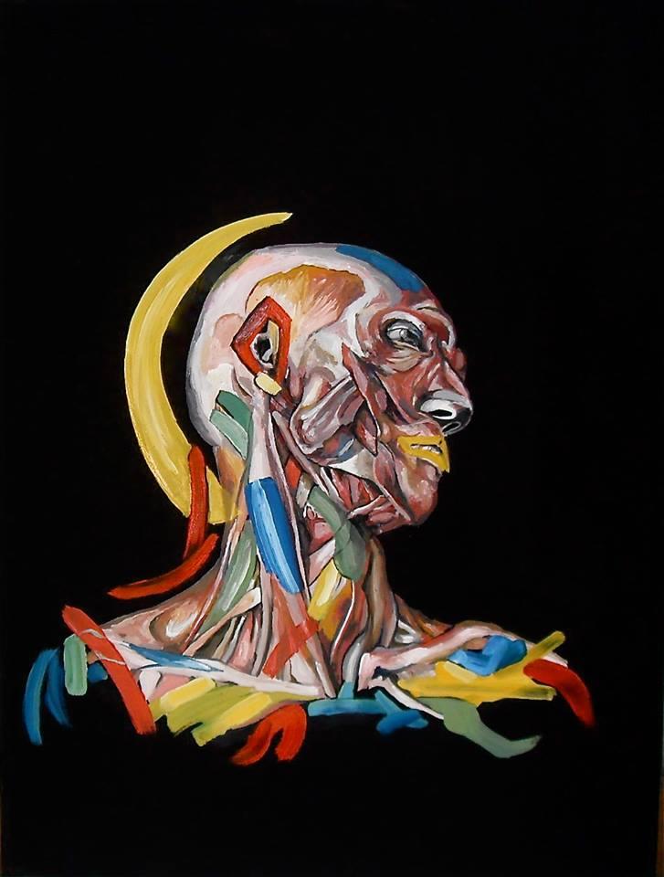 Tête d'écorché en muscles, tendons, nerfs et couleurs. Peinture par Stanmac 2017. 80 x 60 cm
