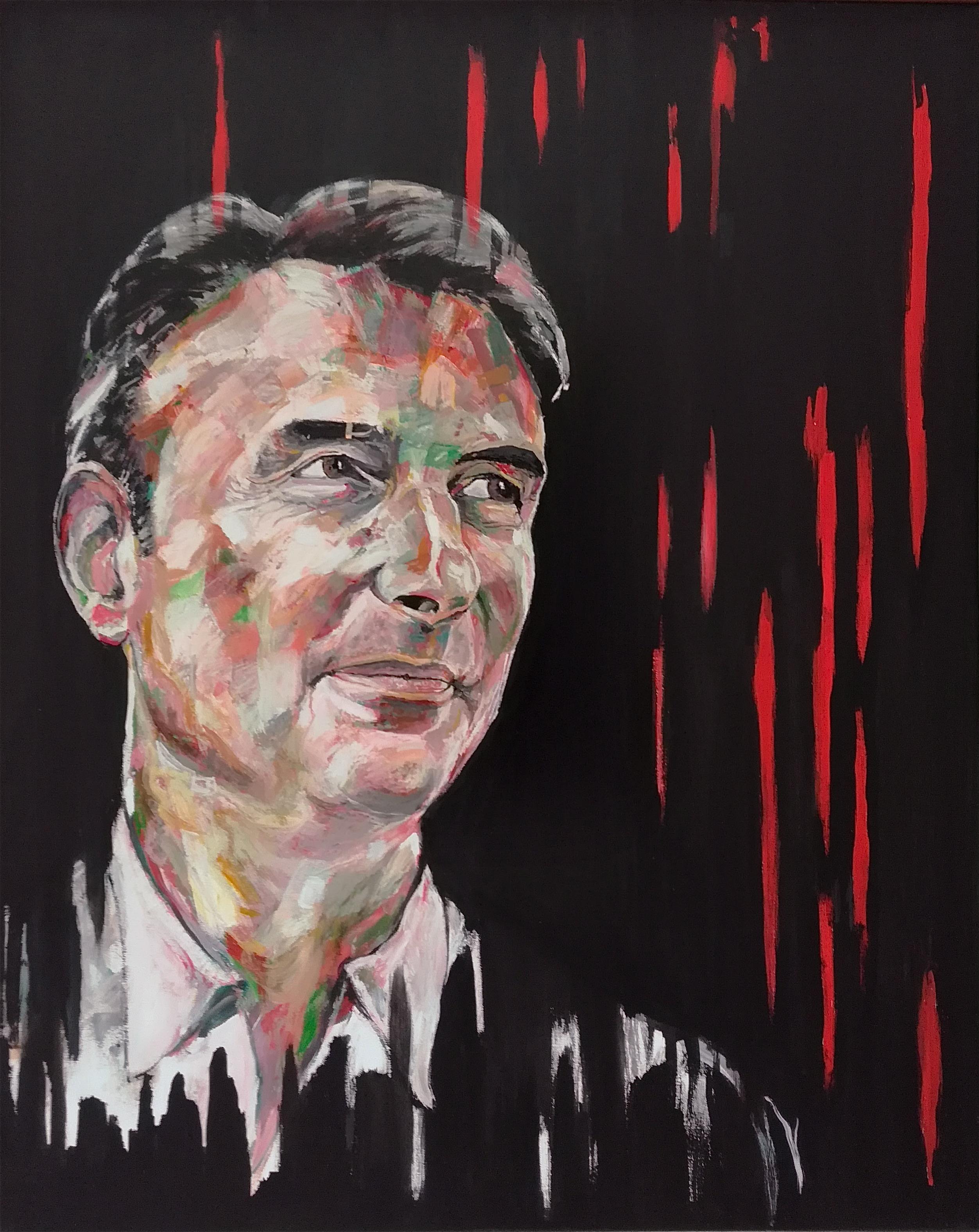 Portrait de J-C.G sur fond noir, par Stanmac 2018. Peinture acrylique.