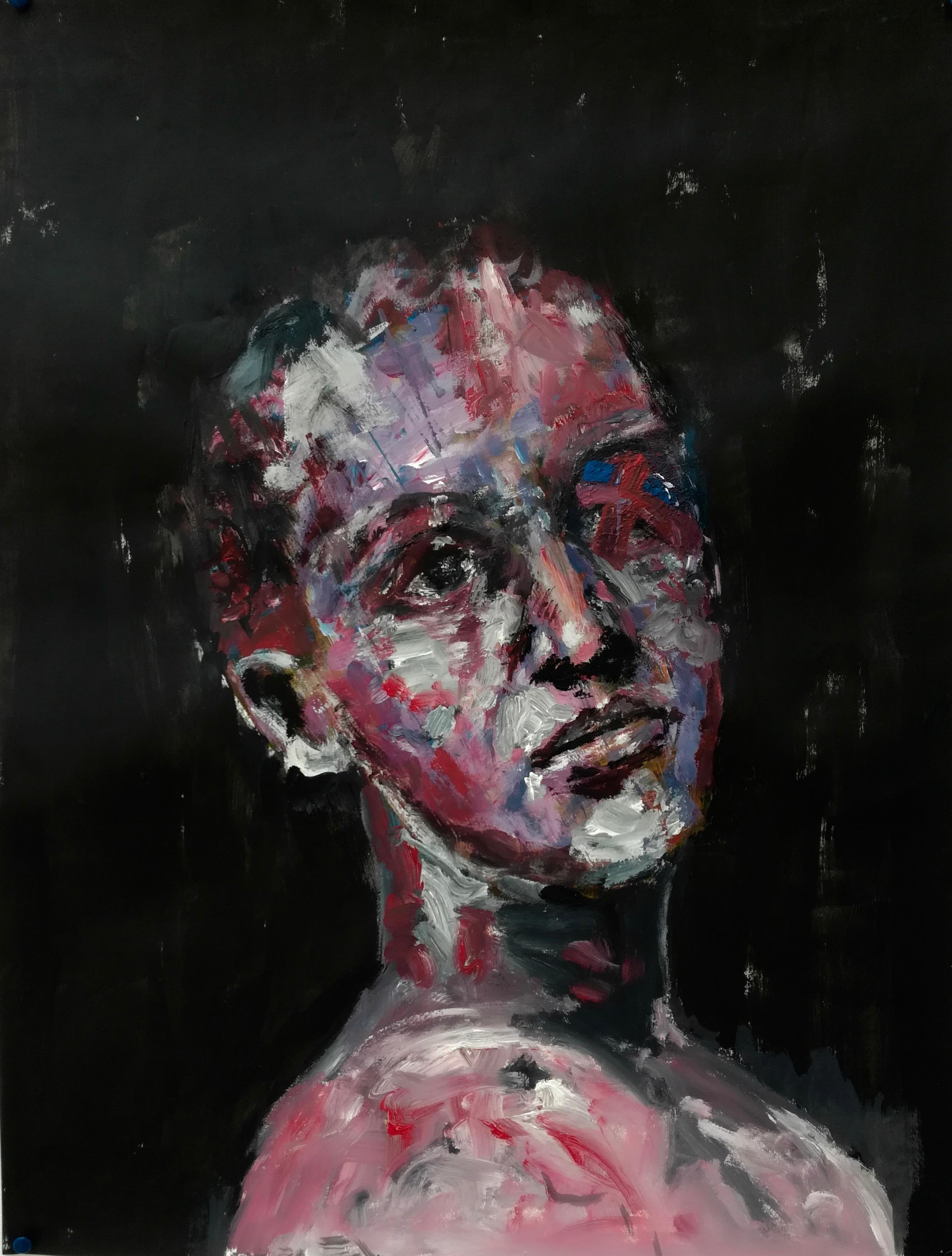 Portrait d'un jeune homme/femme en borgne de l'oeil droit sur fond sombre. Peinture acrylique sur papier, par Stanmac.