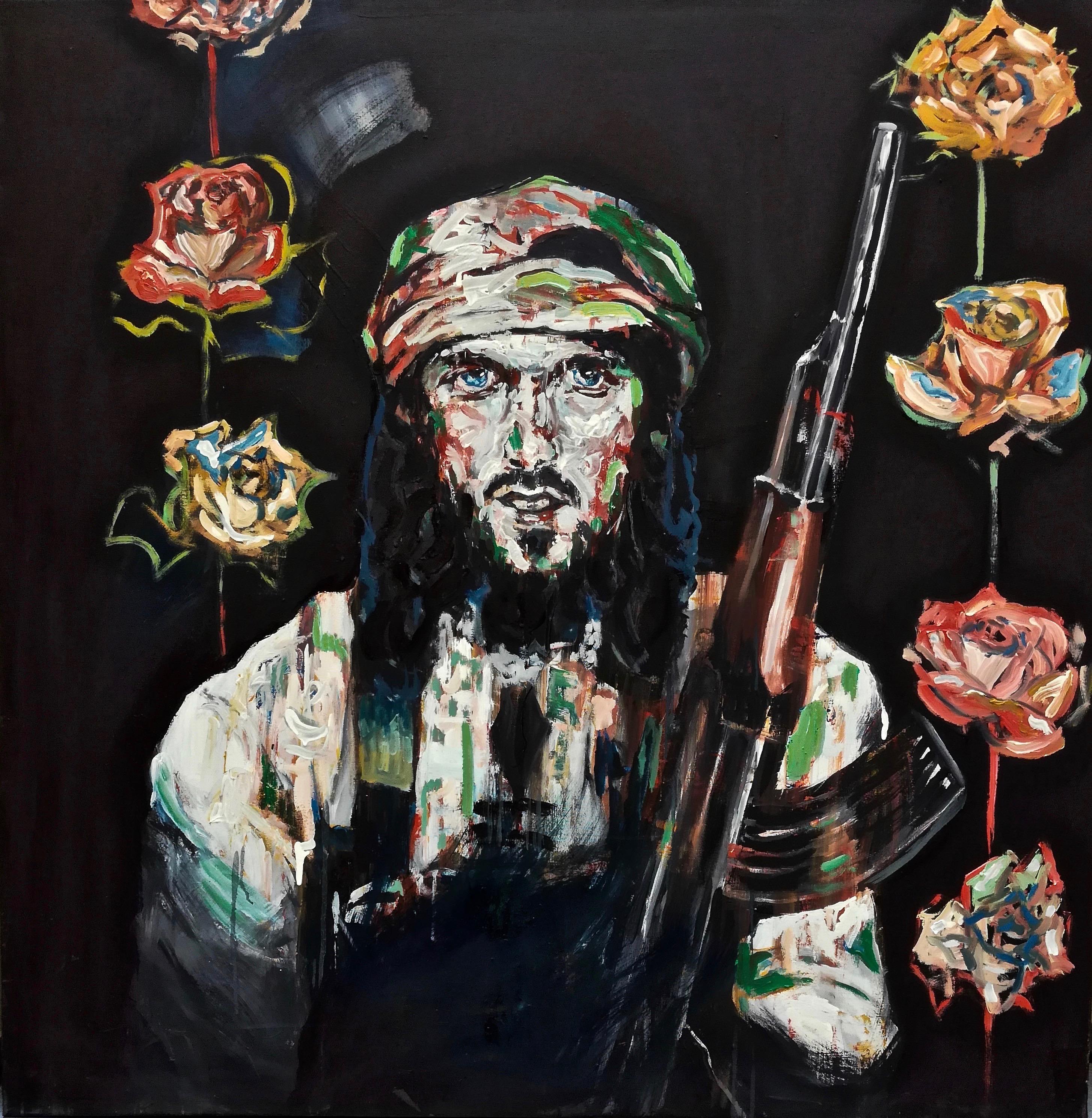 DJ. Djidad Jesus / oil on canvas 100 cm x 100 cm/ Portrait peinture d'un christ en djihadiste avec des fleurs