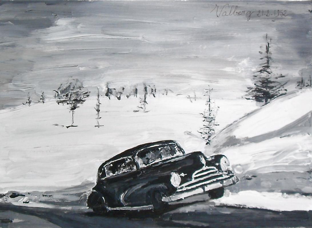 Peinture d'une voiture noire dans la neige. Années 50. Black car early fifties in the snow.