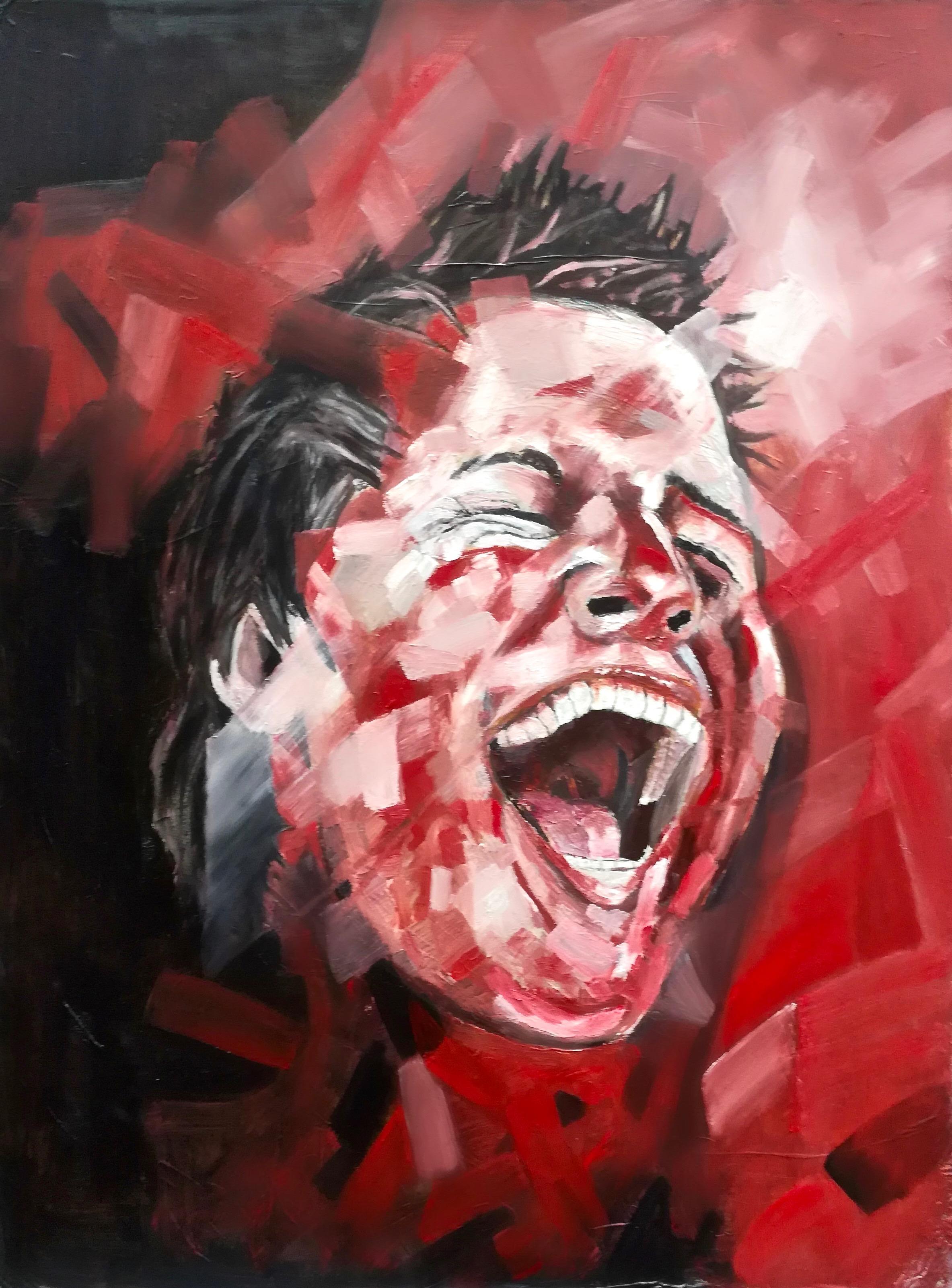 Deuxième portrait d'Andy riant. Couleurs rouge, peinture acrylique, par Stanmac. 2014-2018