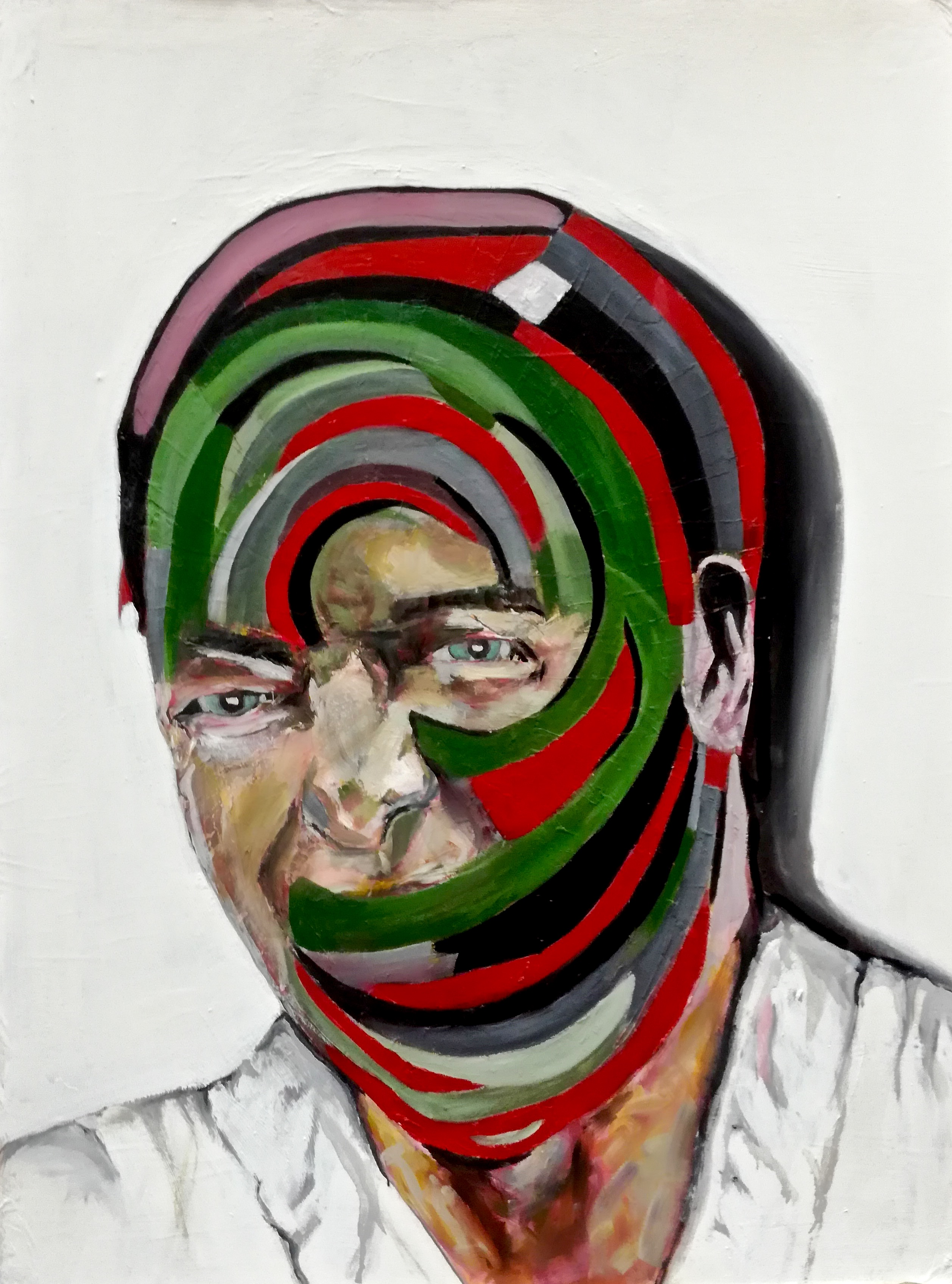 Portrait peint de Marcus. Semi-caché par un masque rouge et vert. Par Stanmac 2014-2018