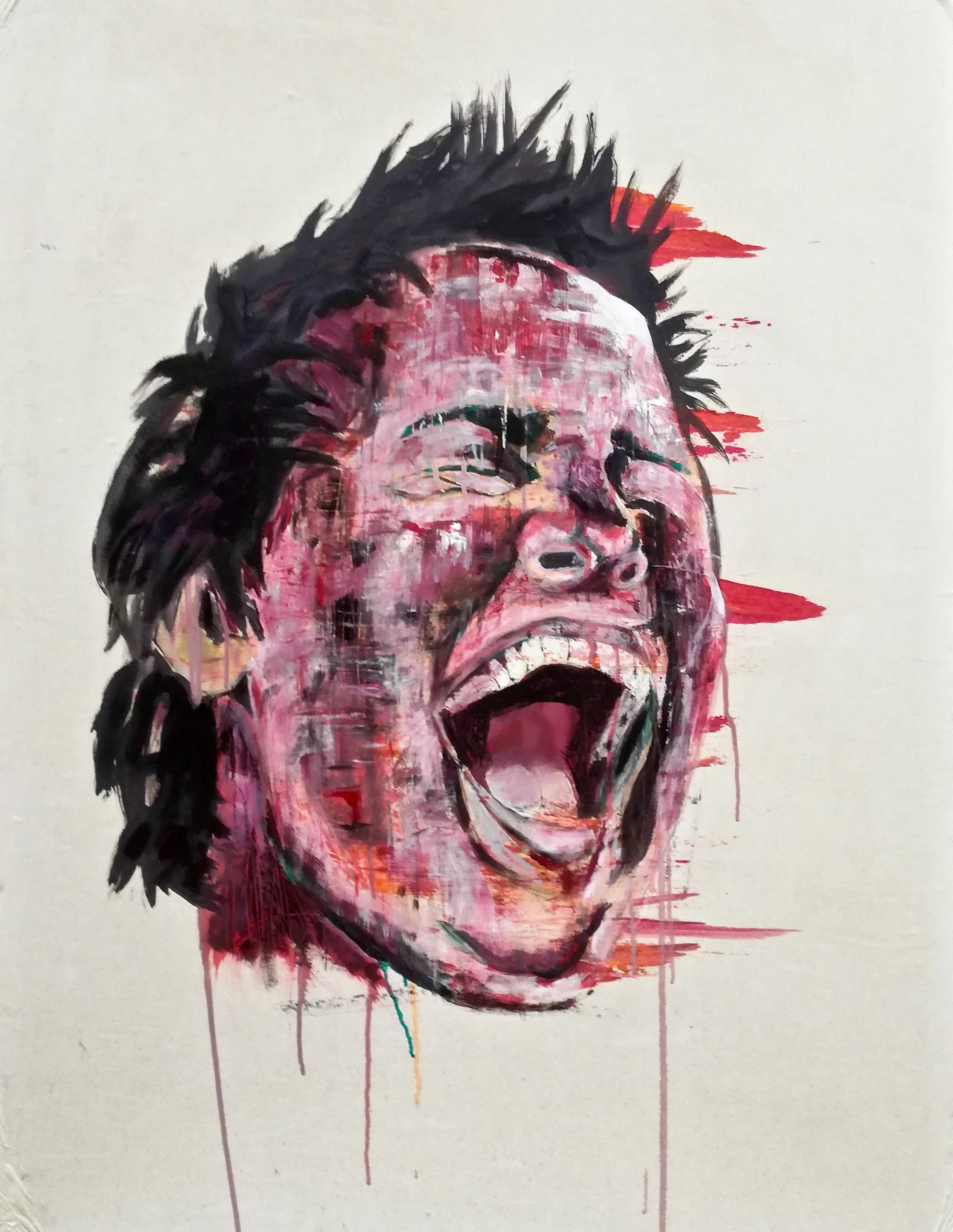 Andy III. Portrait peint d'un jeune homme riant ou hurlant couleurs rouge, pourpre, rose, orange, par Stanmac 2014-2018