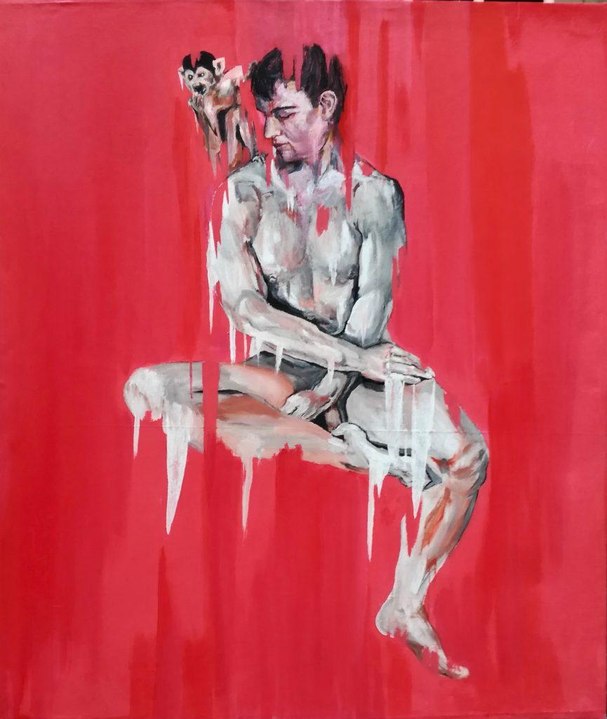 Le jeune homme au singe sur fond rouge, par Stanmac. Reprise en 2018