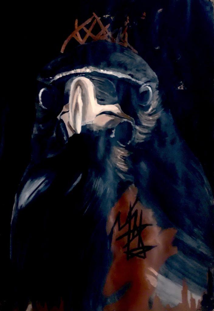 Peinture d'un corbeau plutôt que de l'aigle américain.