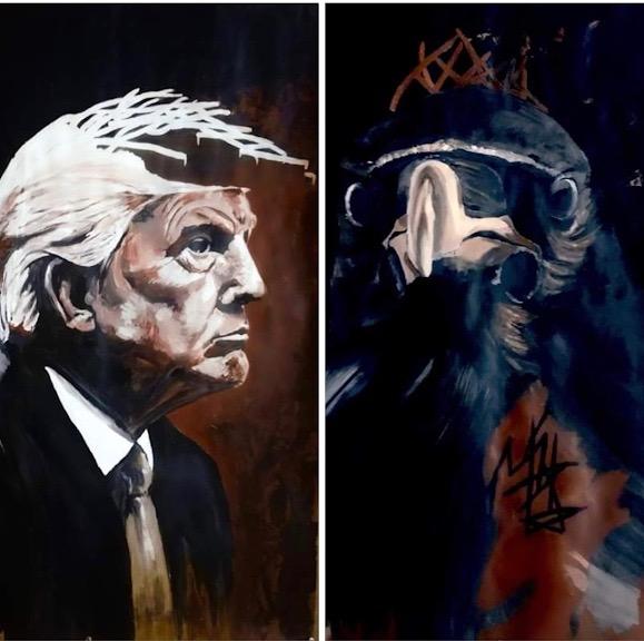 Donald Trump et le corbeau en vis-à-vis.