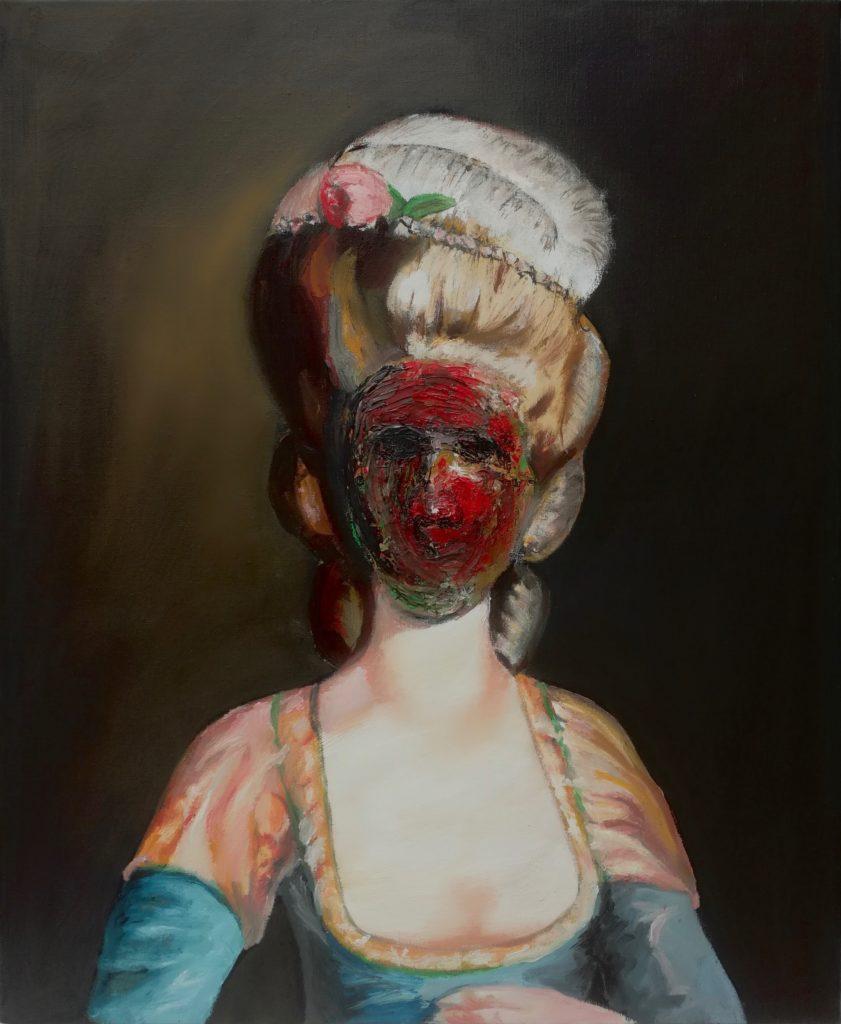 Portait peint à l'huile d'une aristocrate du XVIIIème siècle.