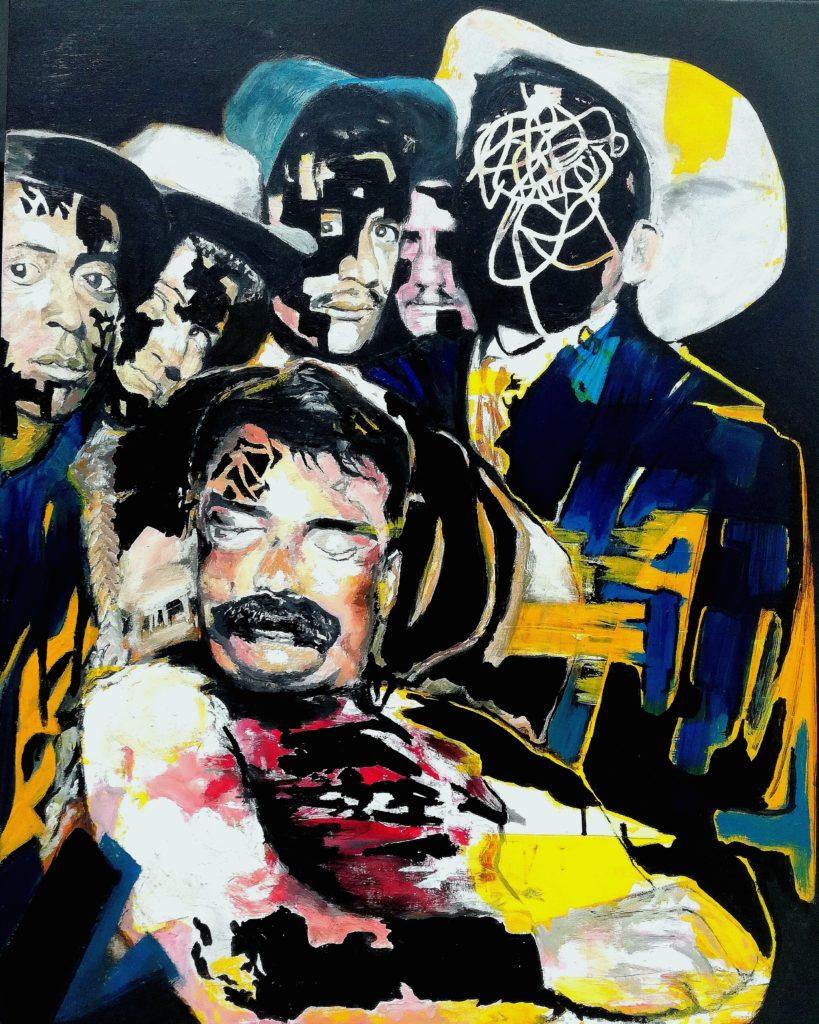 Tableau d'après photo prise à la mort d'Emiliano Zapata.