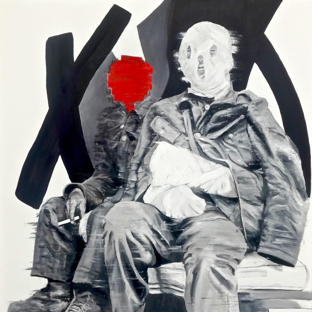 Portrait de deux blessés de guerre. Art contemporain. Contemporary figurative painting. Abstract art.