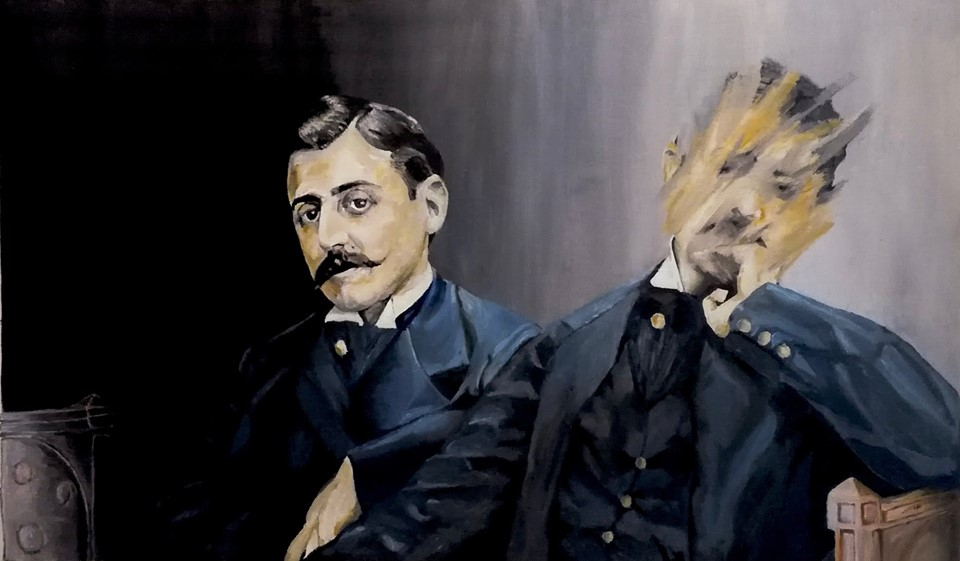Double portrait de Marcel Proust, dont l'un est en partie effacé. Double portrait of Marcel Proust, one of which is partially erased.